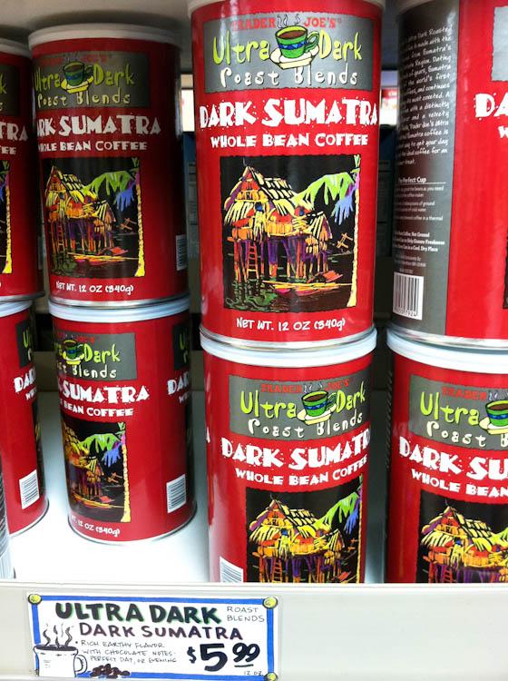 Cans of Trader Joe's Dark Sumatra coffee