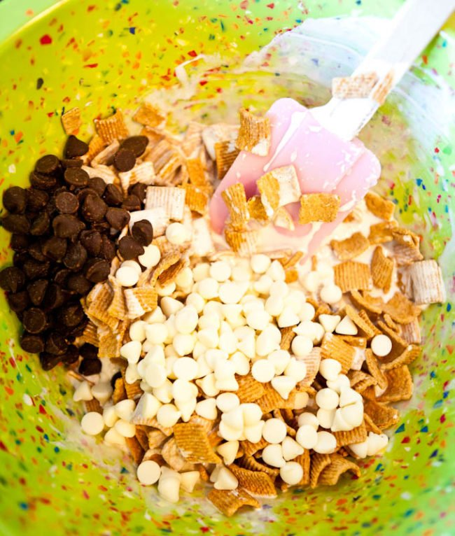 marshmallows + white chocolate chips+ chocolate chips + cereal