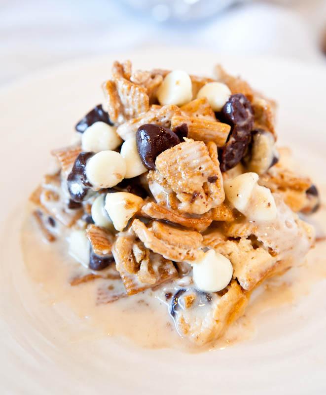 Gooey Deep Dish Double Chocolate Golden Grahams Smores Bar on plate
