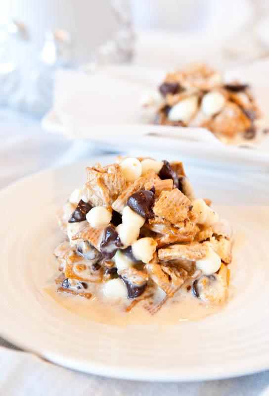 Deep Dish Double Chocolate Golden Grahams Smores Bars on plates