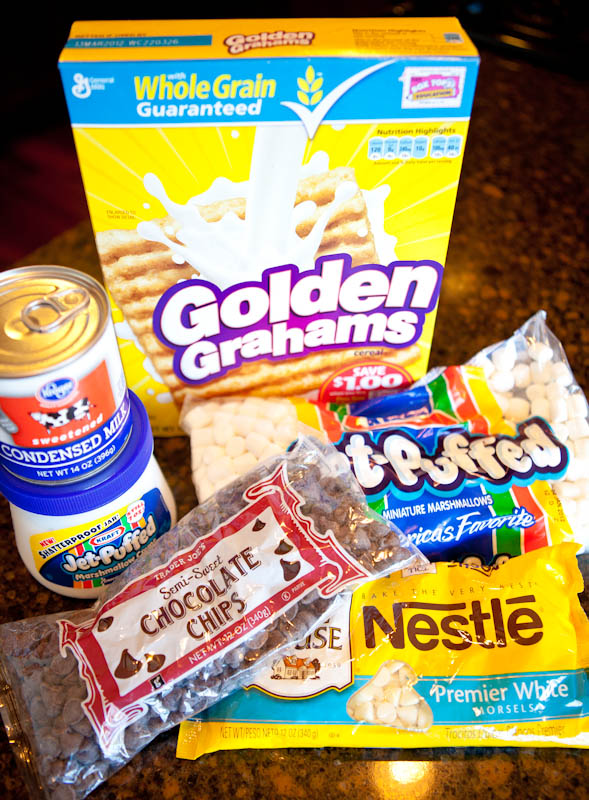 Ingredients for Deep Dish Double Chocolate Golden Grahams Smores Bars