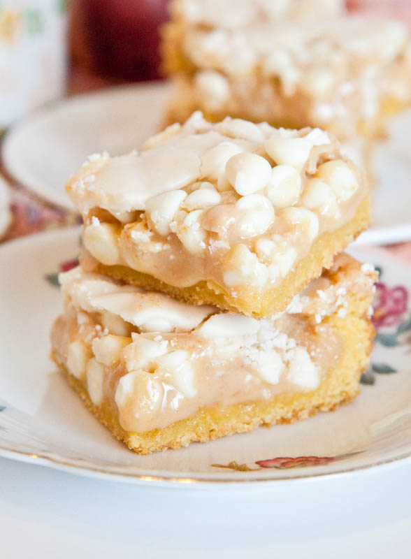 White Chocolate Vanilla Marshmallow Cake Bars stacked