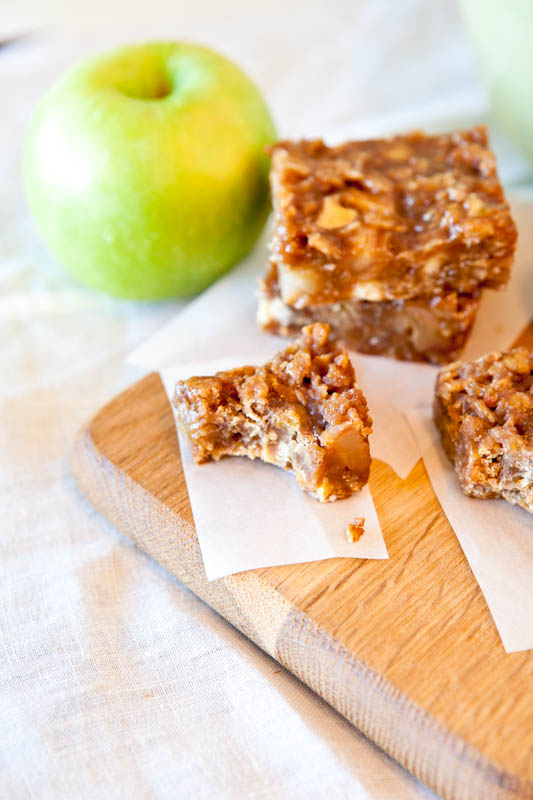 Caramel Apple Bars with bite taken out