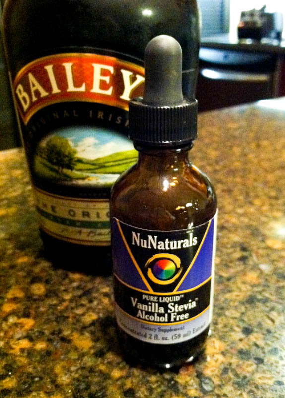 Vanilla Stevia drops in front of Bailey's bottle