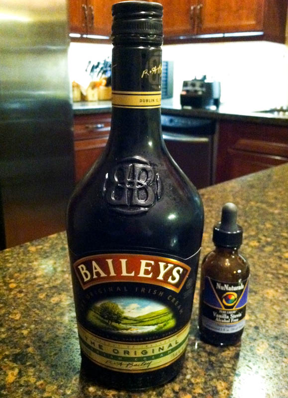 Bottle of Baileys next to vanilla stevia dropper bottle