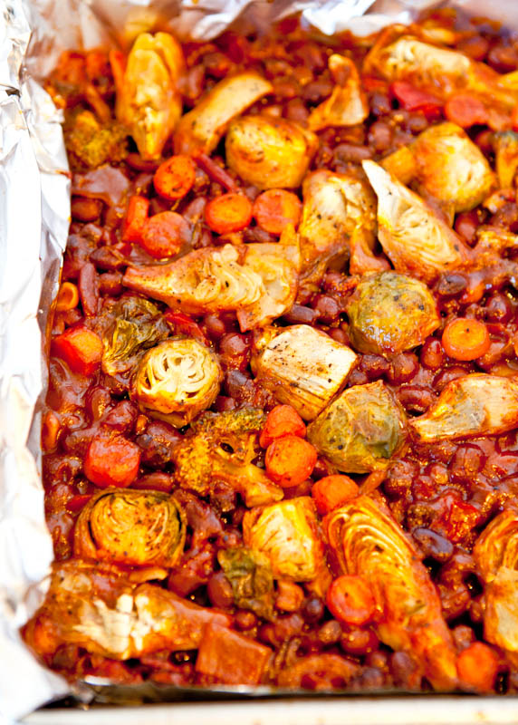 Vegetable and Bean bake on foil lined pan