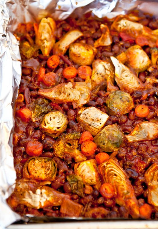 Spicy Baked Black Beans with Mixed Vegetables