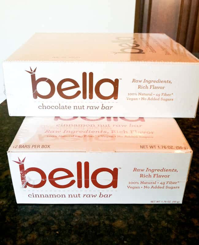 Boxes of Bella Chocolate nut raw bars