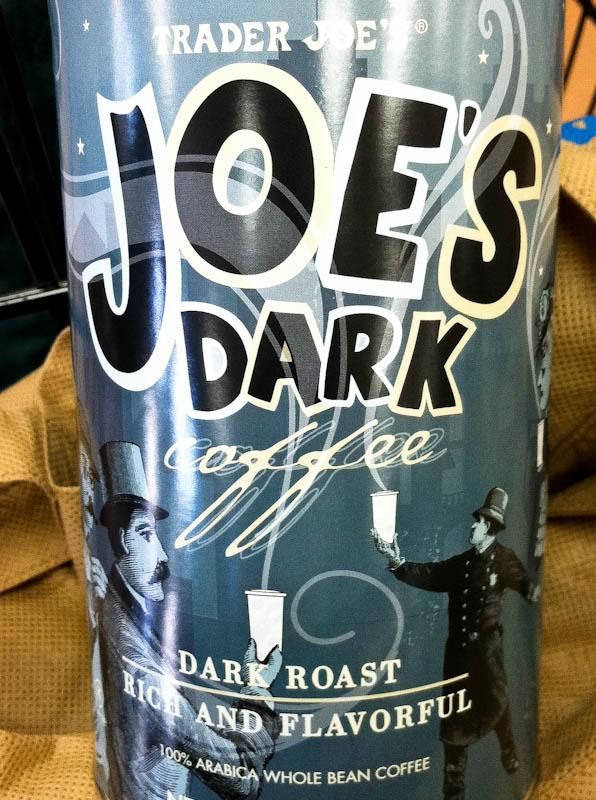 Container of Trader Joe's Joe's dark coffee