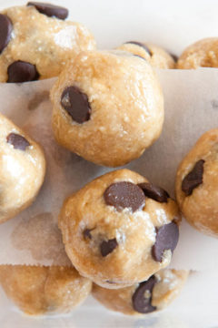 Overhead of stacked Raw Vegan Chocolate Chip Cookie Dough Balls