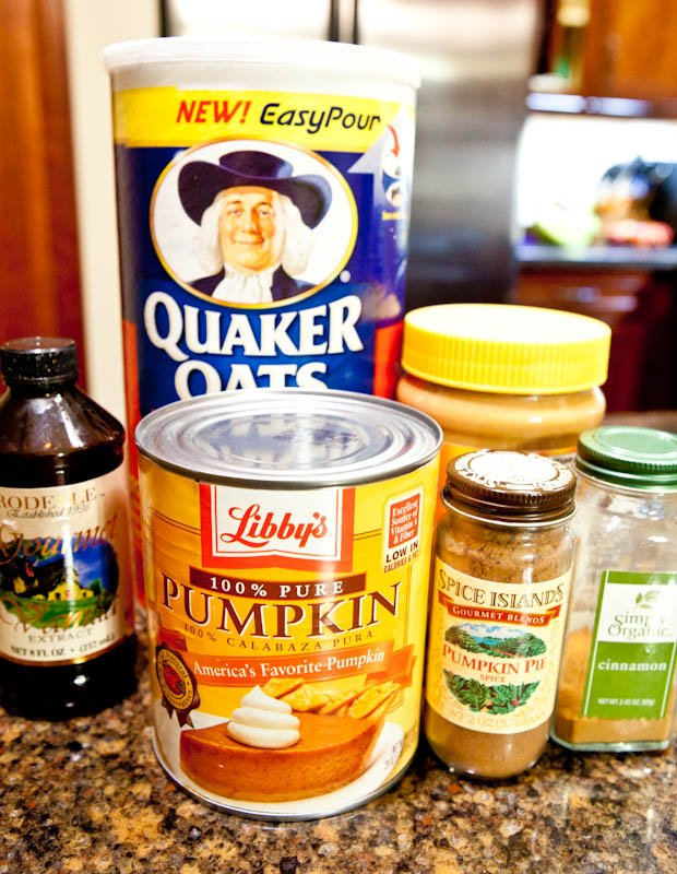 Ingredients for Pumpkin Peanut Butter Oatmeal Bars