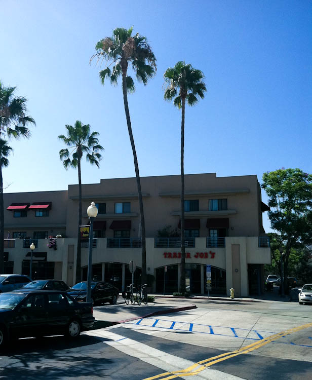Trader Joe's storefront with palm trees
