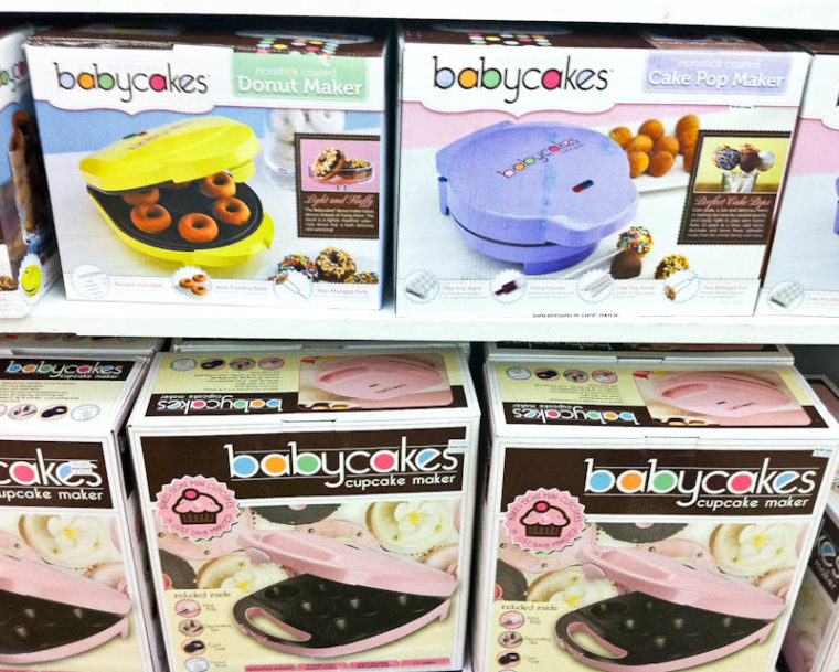 Shelves of babycakes donut, cake pop, and cupcake makers