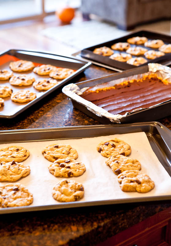 Pans of cookies and bars on marble counter