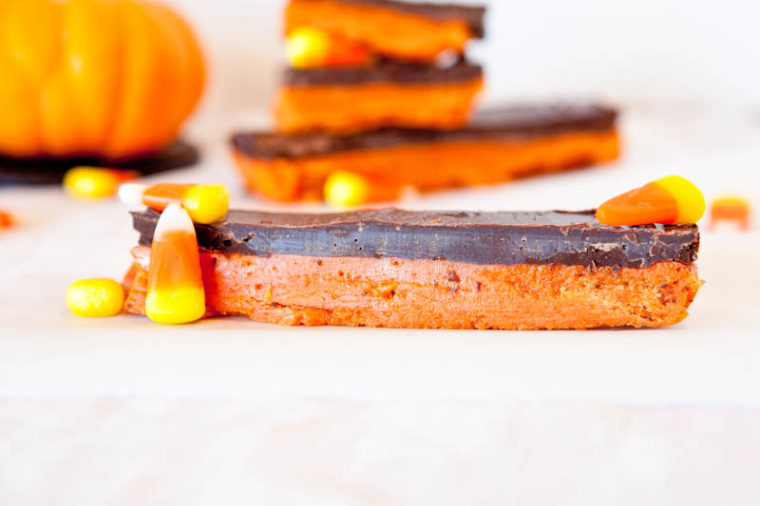 Butterfinger Bars with candy corn and chocolate tops