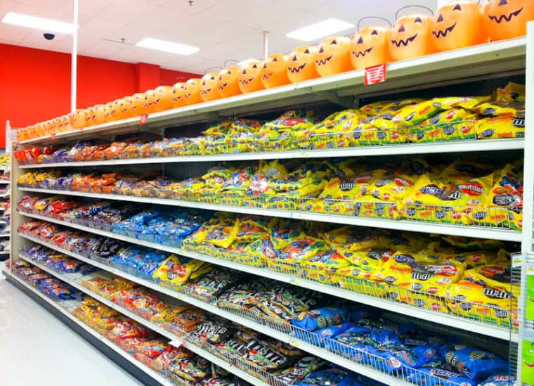 Target shelves of candy and pumpkin candy baskets