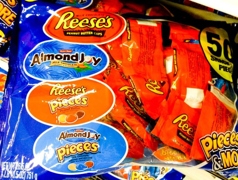 Bag of snack candies, Reese's cups, Almond Joy, Reese's pieces, almond joy pieces