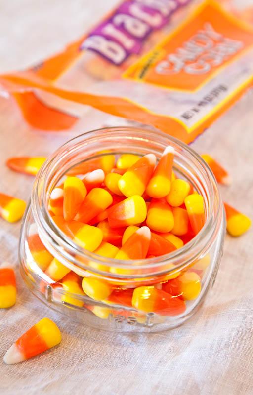 Candy corn in glass jar