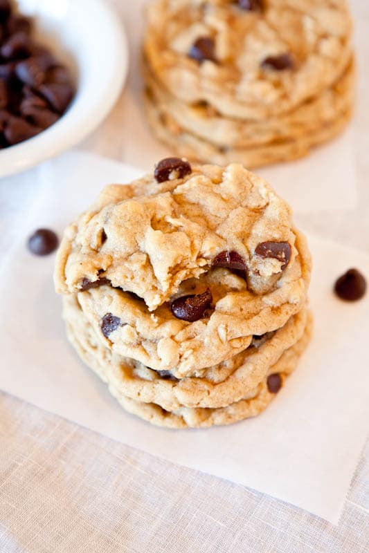Chocolate chip peanut butter oatmeal cookies stacked