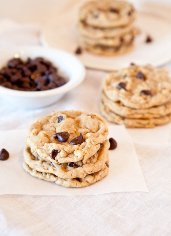 Chocolate chip peanut butter oatmeal cookies stacked and bowl of chocolate chips