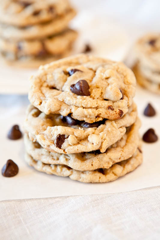 Chocolate chip peanut butter oatmeal cookies stacked with chocolate chip scattered