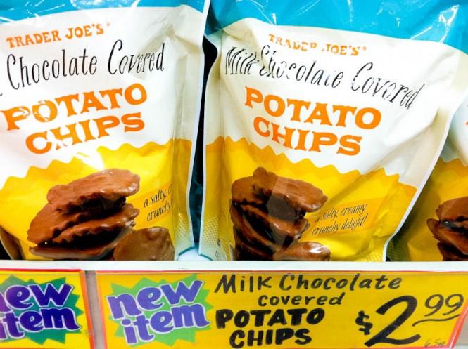 Shelf of Trader Joe's Milk Chocolate covered potato chips