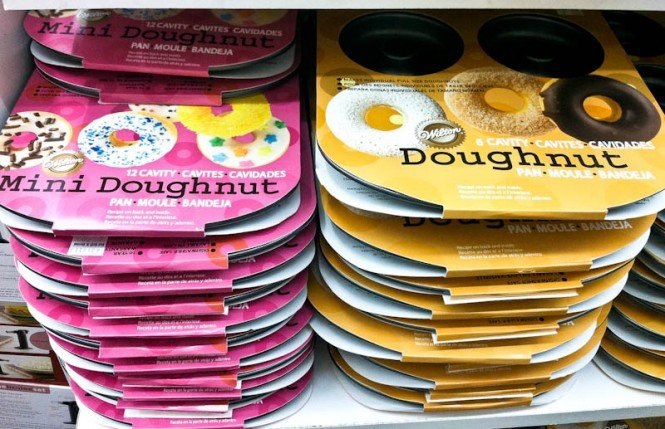 Stacks of mini doughnut and doughnut pans