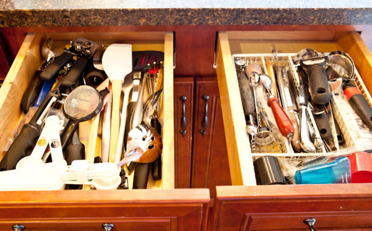kitchen utensils for baking in drawers
