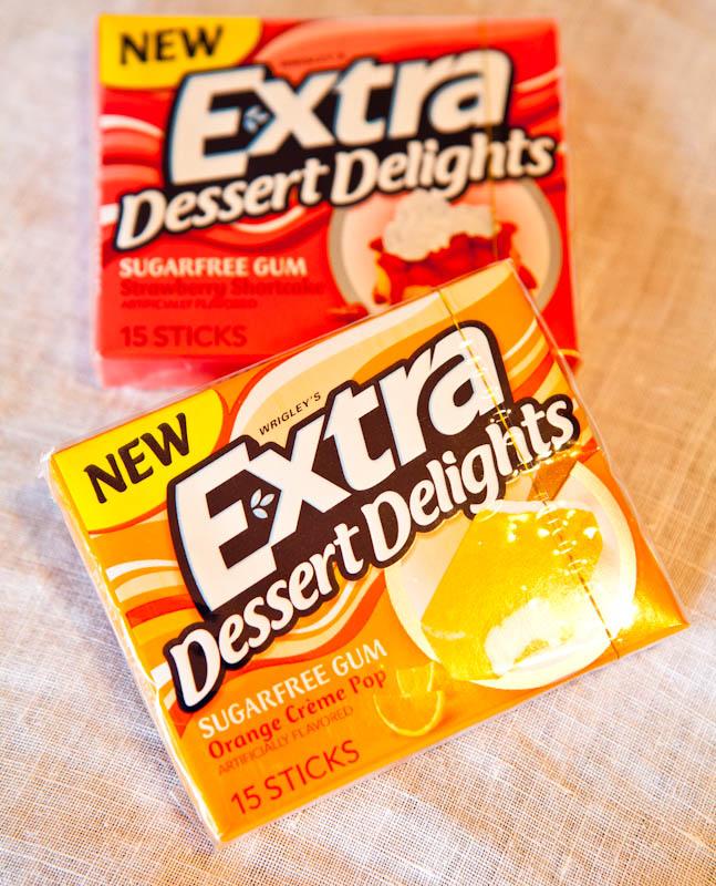 Extra Dessert sugarfree gum strawberry shortcake and orange creme pop