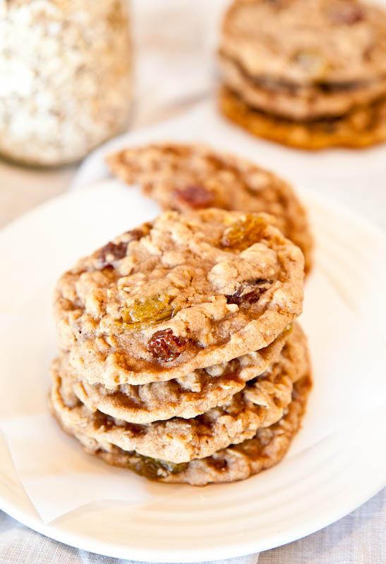 Oatmeal Raisin Cookies stacked