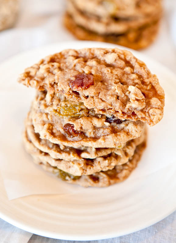 Oatmeal Raisin Cookies stacked with pieces in half