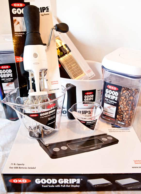 OXO Good Grips food scale, egg beater, containers, measuring cups
