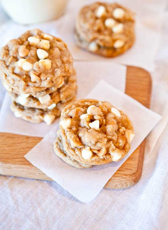 Soft and Chewy Peanut Butter Oatmeal White Chocolate Cookies stacked