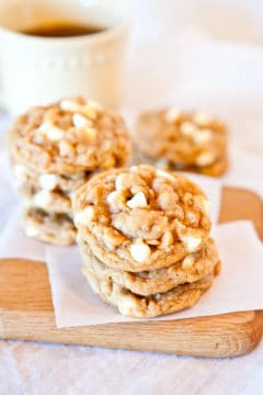Soft and Chewy Peanut Butter Oatmeal White Chocolate Cookies