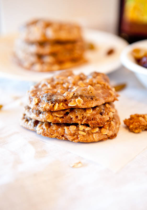 Dark Rum Oatmeal Raisin Cookies stacked