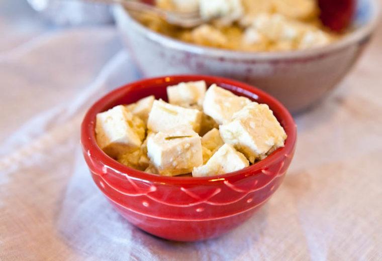 Salsa Verde Pepperjack Tofu in red bowl