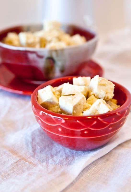 Salsa Verde Pepperjack Tofu in red bowls