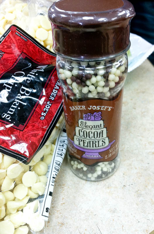 Brown and white Trader Joe's cocoa pearls and white chocolate chip bag