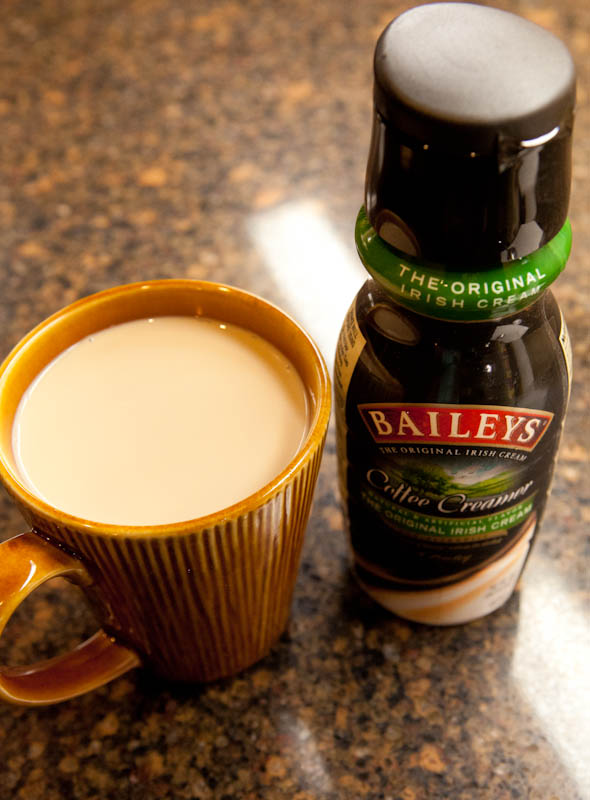 Baileys creamer with cup of coffee