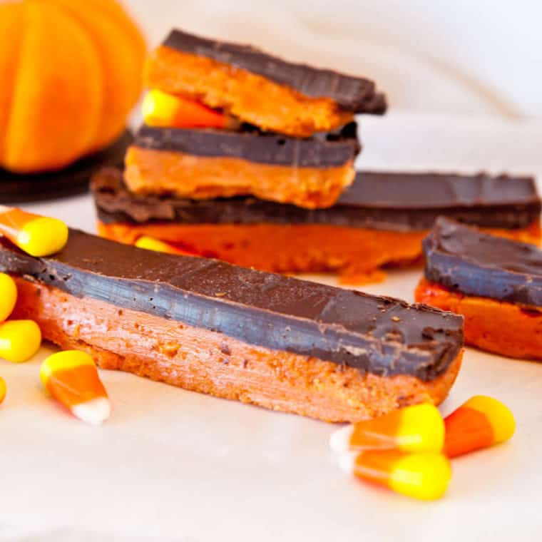 Butterfinger Bars with candy corn scattered