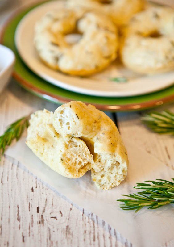 Baked Savory Cream Cheese & Herb Donuts in half