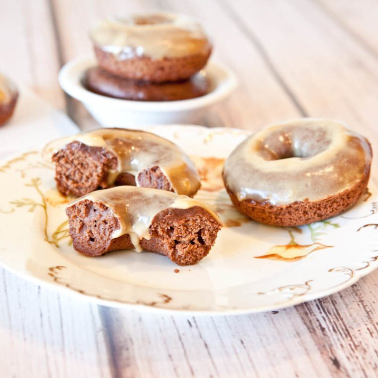 Baked Chocolate Peanut Butter Donuts with Vanilla Peanut Butter Glaze