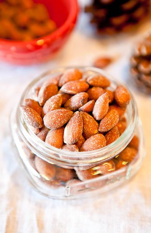 Coconut Cinnamon Sugar Roasted Almonds in glass jar