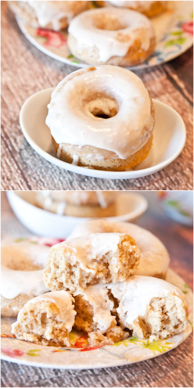 Baked Cinnamon Bun Donuts with Vanilla Cream Cheese Glaze