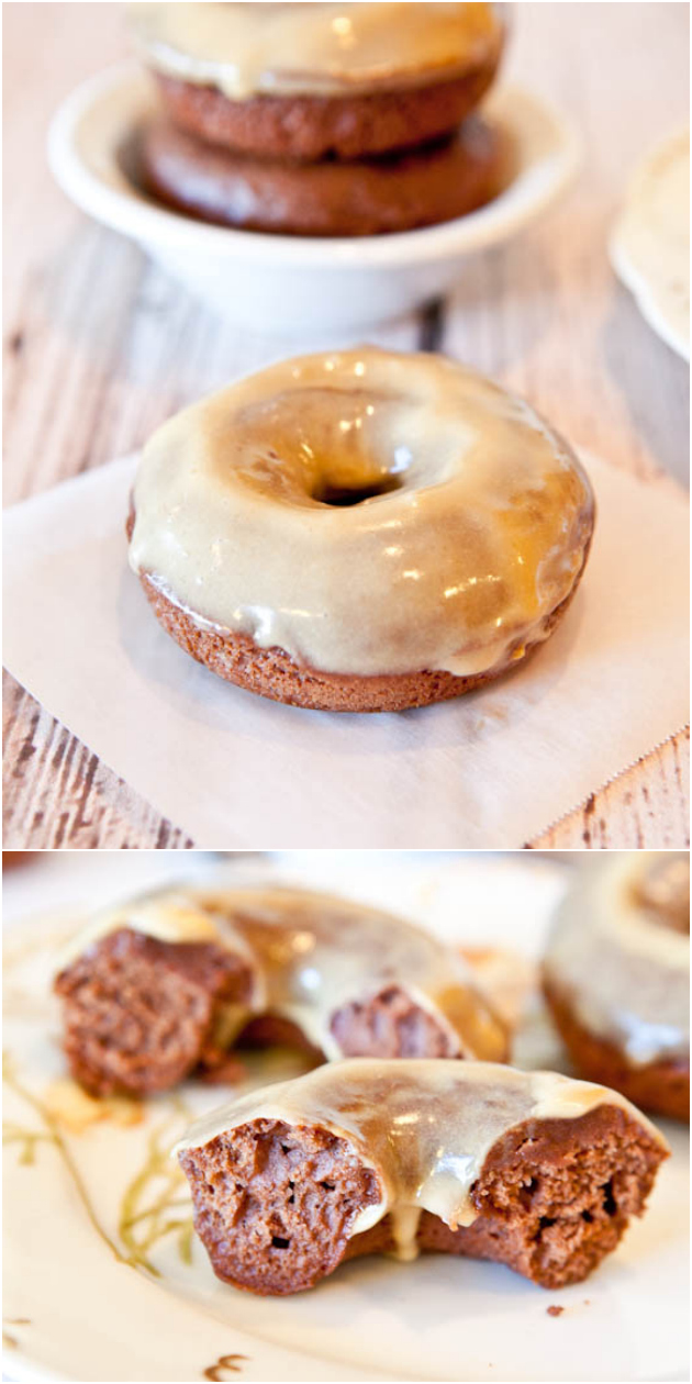 Baked Chocolate-Peanut Butter Donuts with Vanilla-Peanut Butter Glaze - Made just for the peanut butter + chocolate lovers! There's plenty of both in these fast, easy donuts. They're baked rather than fried so you can have seconds!