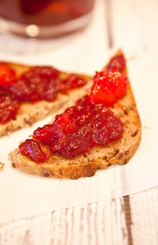 Cranberry & Orange Ginger Mango Chutney on bread