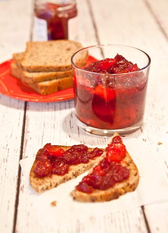 Cranberry & Orange Ginger Mango Chutney on pieces of bread