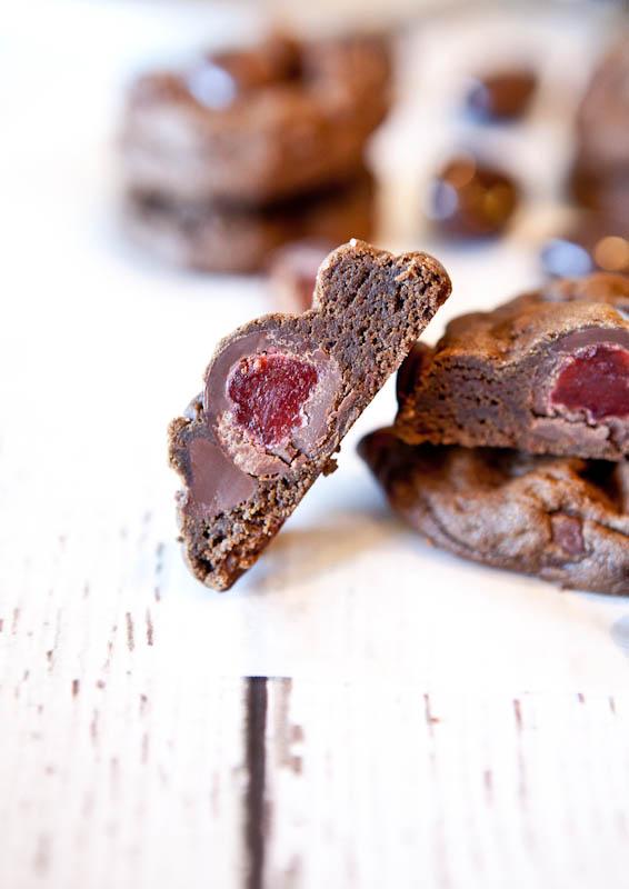Stuffed Dark Chocolate Chocolate-Chip Cookies in half
