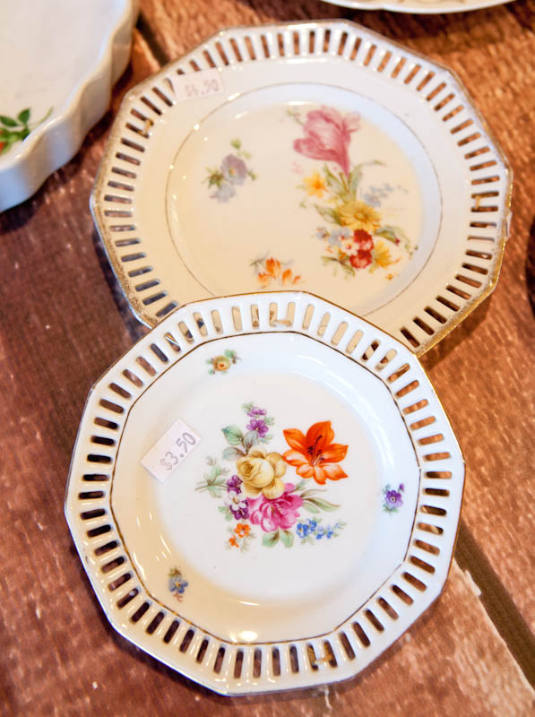 floral patterned white plates