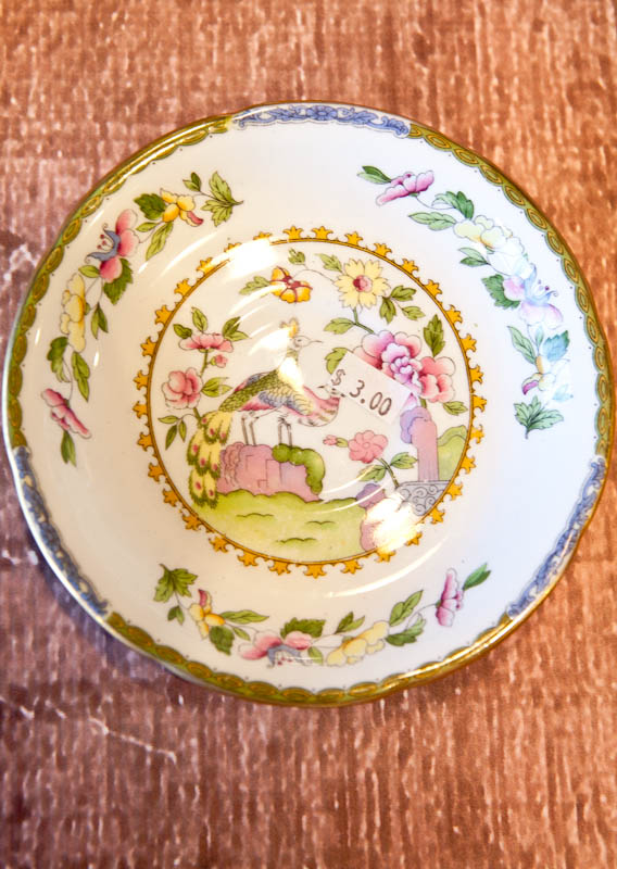 Saucer with birds and leaves on them